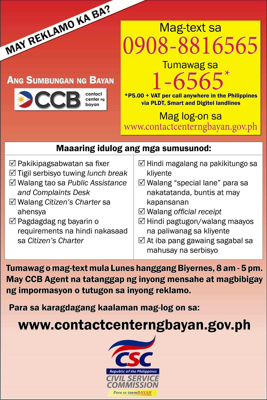 About Contact Center Ng Bayan · CSC MC No. 15, S. 2012 U2013 Lodging Of  ARTA Related Complaints Through The Contact Center Ng Bayan 1 6565